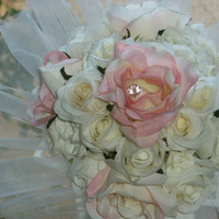 Silk Roses Bouquet with Tulle Bouquet Collar
