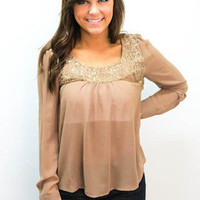 MACA Clothe · Sequin Top in Tan