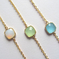 Personalized Bracelets, Choose your color-White Opal, Seafoam & Ocean Blue connectors on a gold plated chain, Bridesmaids
