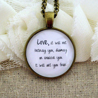 Mumford and Sons Sigh No More Inspired Lyrical Quote Necklace
