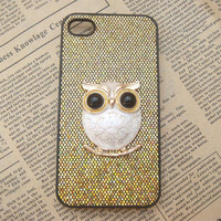 Steampunk Owl Golden bling glitter hard case For Apple iPhone 4 case iPhone 4s case cover