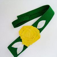 Green with yellow gold fabric flower headband, head wrap, Baylor, Green Bay Packers, John Deere