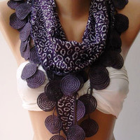 ON SALE Purple   Scarf   Shawl  Elegant   Shawl with Lacy Edge
