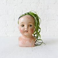 SUPER Creepy Cute Antique Doll Head Air Plant Garden - LARGE