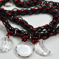 Triple Moon Goddess Swarovski Crystal with Black and Red Chain Mail