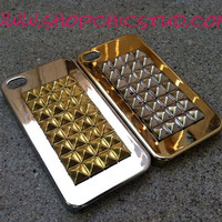 Studded iPhone 4/4s Case Silver or Gold Chrome Hard Case