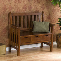 Oak Finish Fairview 3-Drawer Bench | Living Room Furniture| Furniture | World Market