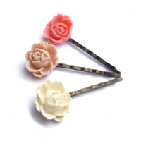 Flower Hair pins, pink hair pins, white hair pins, pink rose, Set of 3, wedding accessory, bridesmaid gift, bobby pins