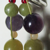 Contemporary Olive Jade and Peacock Blue Dangle Earrings