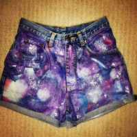 SALE CHEAP discount GALAXY High-Waisted Shorts Denim Space BlackStyle Dyed Tie-dye Retro Vintage Black Orange Purple White Silver Handmade
