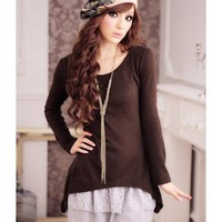 Coffee Women Long Sleeve Scoop Autumn New Style Korean Style Fashion Slim Two-pieces Cotton Dress S/M/L @WH0405c $20.99 only in eFexcity.com.