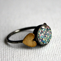 Snow White Drusy with Hearts Ring