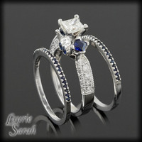 Princess Cut Blue Sapphire and Diamond Engagement Ring and Wedding Band Set - LS1997