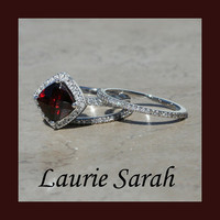 Cushion Cut Garnet with Single Halo of Diamonds Wedding Set - LS1784