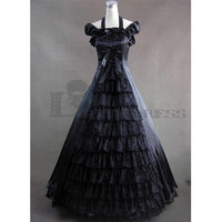 Graceful Short Sleeves Bowknot Floor-length Ruffles Black Gothic Victorian Dress for Sale Cheap Fancy Dress Outfits [TQL120427094] - 64.59