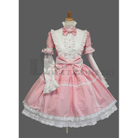 Cute Long Sleeves Stand Collar Bowknot Multi-Layer Cotton Pink Fancy Dress Costumes Sweet Lolita Dress [TQL120507065] - £54.59