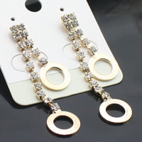 Korean long style rhinestone earrings | martofchina.com