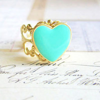 Mint Green Ring Mint Gold Ring Heart Ring Mint Heart Gold Filigree Ring Gold Lace Ring Turquoise Seafoam Aqua Gold Ring - Circe