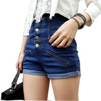 Allegra K Women Fake Pockets Front Cuffed Detail Button Closure Short Jeans Blue S