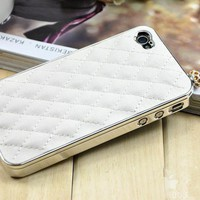White Deluxe Leather Chrome Case Cover for iPhone4&4S+Free Screen Protector
