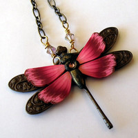 Dragonfly Pendant Necklace by Claybykim on Etsy