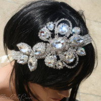 Crystal trim and statement hairpiece, wedding, bridal