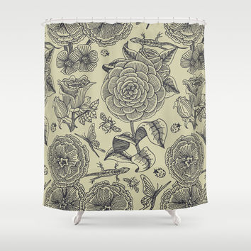 Garden Bliss - vintage floral illustrations Shower Curtain by Perrin Le Feuvre