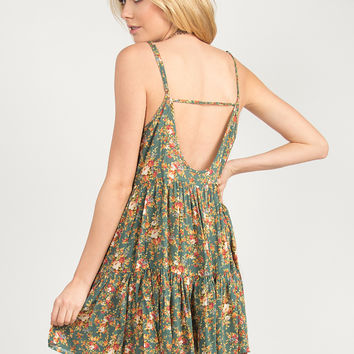 Spring It On Floral Babydoll Dress - Green /