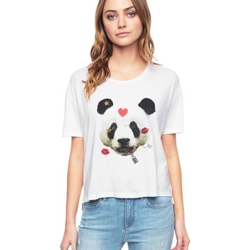 WHITE PANDA EMBELLISHED S/S GRAPHIC TEE by Juicy Couture,
