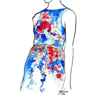 Print from Original watercolor fashion illustration by Jessica Durrant titled Garden Party