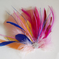 Feather Hair Clip, bridesmaid hair piece, BRIDAL Headpiece, Wedding Accessories, bridal shower, Pink Peach Yellow Blue - Ready to Ship