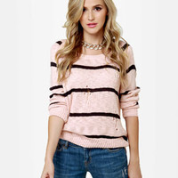 Cute Pink Sweater - Striped Sweater - High-Low Sweater - $44.00