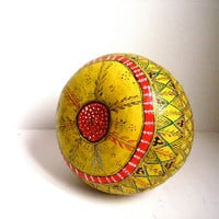 vintage hand painted gourd