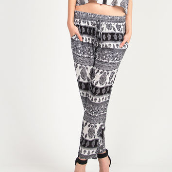 Paisley Printed Pants - Black /