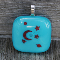 Celestial Moon and Stars Pendant Copper and Fused Glass Jewelry