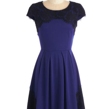 ModCloth Mid-length Cap Sleeves Intermission Impossible Dress in Royal Blue