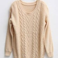 Twist Round Neck Beige Sweater - Designer Shoes|Bqueenshoes.com