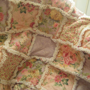 Handmade Shabby Chic Baby Rag Quilt - Pastel Cottage Roses