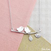 Love Birds on a Branch with Mini Sparrow and Leaf Dangle, Necklace