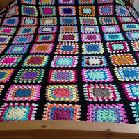 Crochet Blanket Handmade -  Made in tradition granny multi colour style with black border CUDDLE BLANKET (nannycheryl original) ID 782