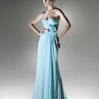 Chiffon Strapless Sweetheart A-line Long Evening Dresses - Basadress.com