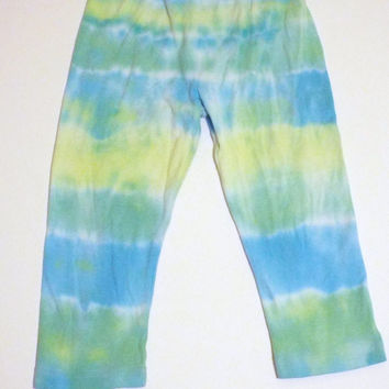 Tie-Dye Leggings for Toddler - Blue and Green stripe toddler pants -- size 3T
