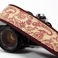 dSLR Camera Strap, Burgundy and Cream Paisley on Denim