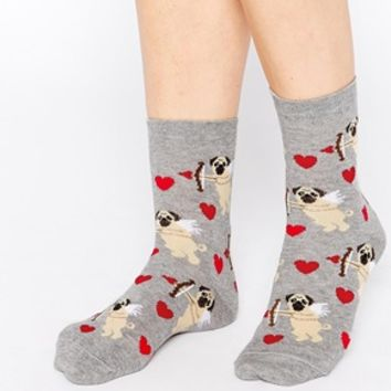 ASOS Valentine Ankle Socks with Pug Cherub