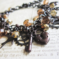 Steampunk Carm Bracelet - Black Antique Brass Czech Glass Beads OOAK