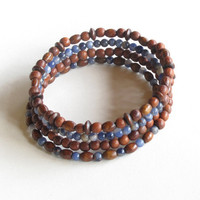 Stacking bead bracelets - Blue gemstone & wood bangles wrap 4 times around the wrist