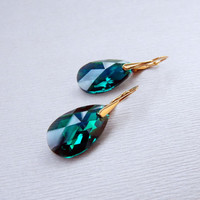 Swarovski crystal Emerald green drop dangle earrings with gold plated sterling silver leverback earwires