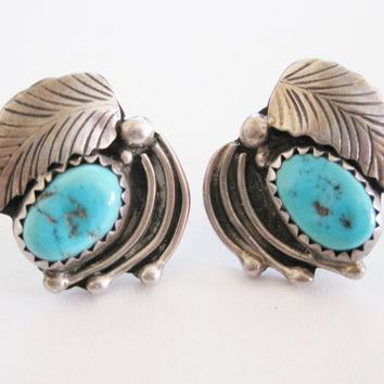 Vintage Navajo Turquoise Feather Earrings Sterling Studs Signed Robert Lincoln