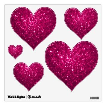 Pink Glittery Look Heart: Wall Decals