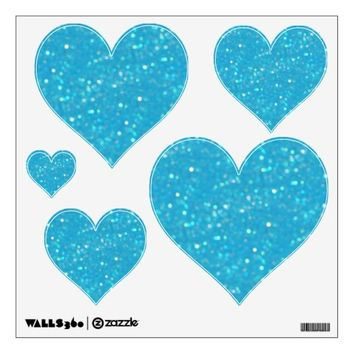 Baby Blue Glitzy Look Heart: Wall Decals